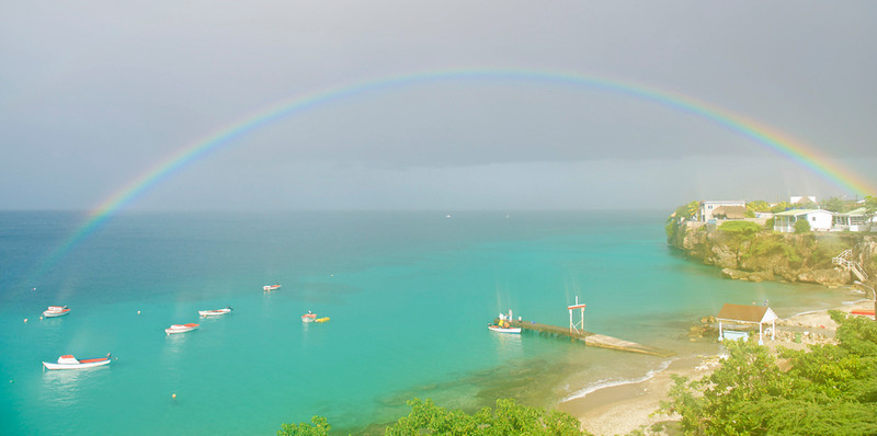 Rainbow over the pier, Westpunt, Curaçao