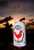 Red Rooster beer at sunset