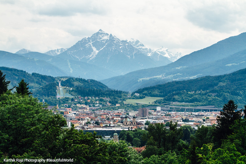 View of Innsbruck with Serles peak, Hungerburg Funicular, Austria