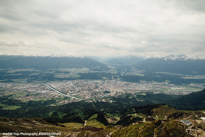 View of Innsbruck from Hafelekarspitze, mountain peak, Austria