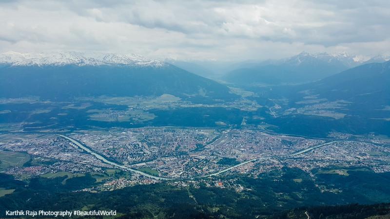 View of Innsbruck from Hafelekarspitze, mountain peak, Austria