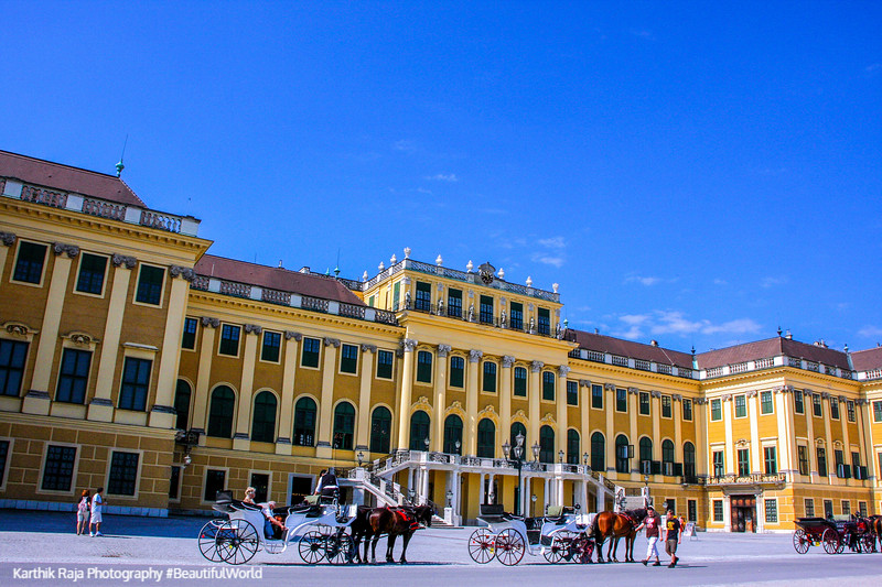 Vienna - Schönbrunn Palace; front facade - painted by Canaletto in 1758, Austria
