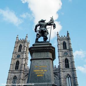 Place d'Armes with Maisonneuve Monument, Notre-Dame Basilica, Montreal, Canada