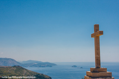 Cross overlooking Adriatic Sea, Dubrovnik, Croatia