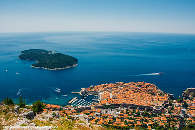 Walled city of Dubrovnik and Lokrum Island from Mount Srd, Dubrovnik, Croatia