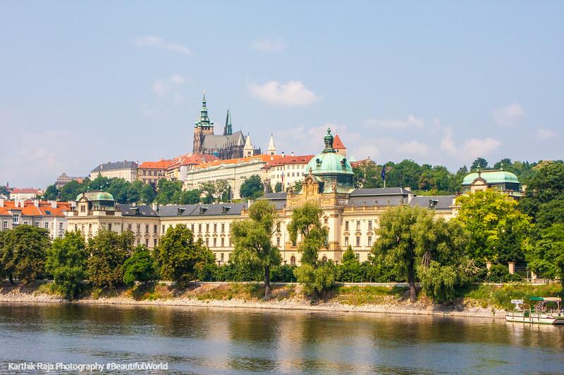 Prague Castle and St. Vitus Cathedral with the Vltava River, Czech Republic