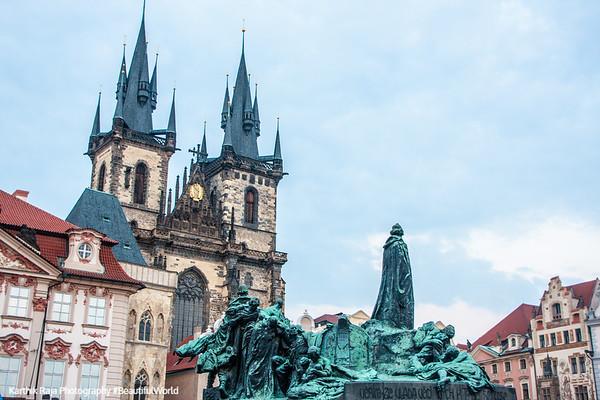 Tyn Church and Jan Hus Memorial, Prague, Czech Republic
