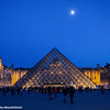 Musée du Louvre, the Grand Louvre, Pyramid, Moon light, Paris, France