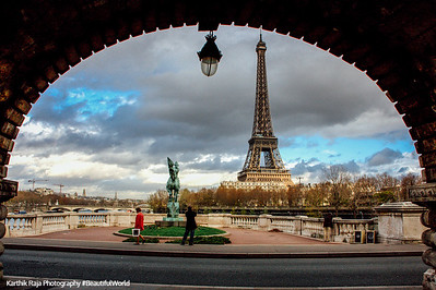 Eiffel under an arch, Paris, France