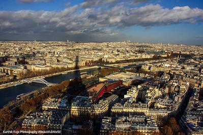 Eiffel Tower shadow on Paris, Paris, France