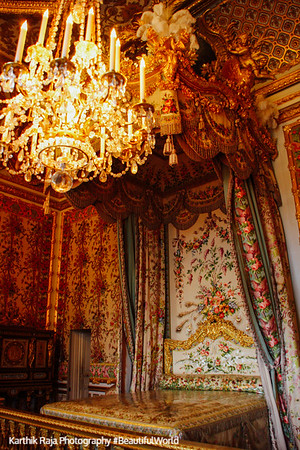 Queen's bed chamber, Palace of Versailles, Versailles, France