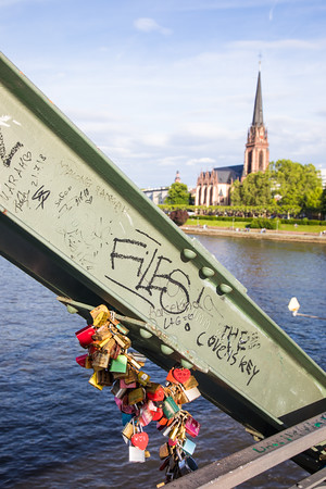Locks on Eiserner Steg, Iron Bridge across Main River, Frankfurt, Gemany