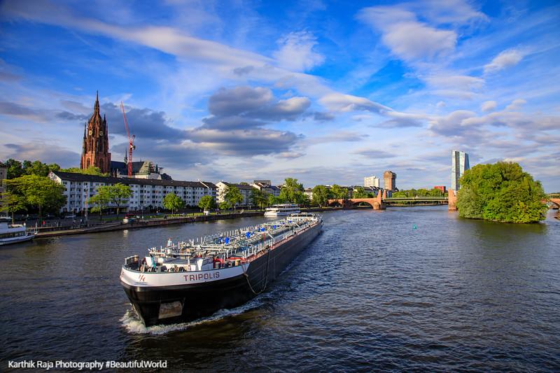 Boat on Main River, Frankfurt, Germany