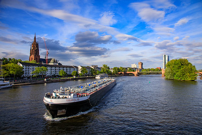 Boat on Main River, Frankfurt, Germany