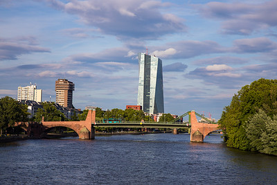 Alte Brucke, Building of the Seat of the European Central Bank, Main River, Frankfurt, Germany
