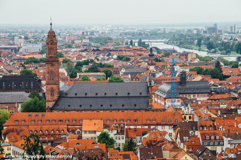 Jesuitenkirche, Neckar river and Heidelberg, Germany