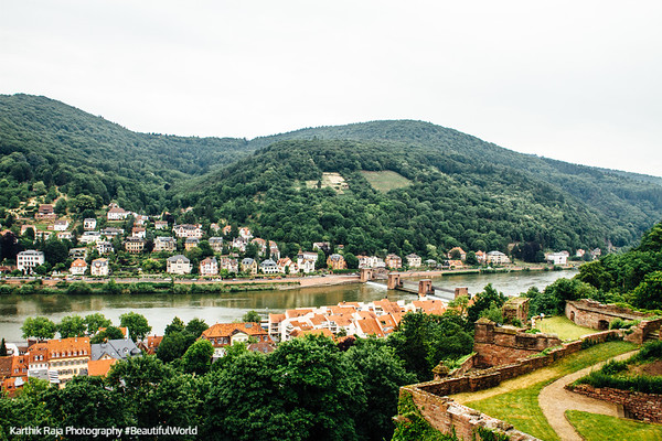 Neckar river, Bridge Staustufe Heidelberg, Germany