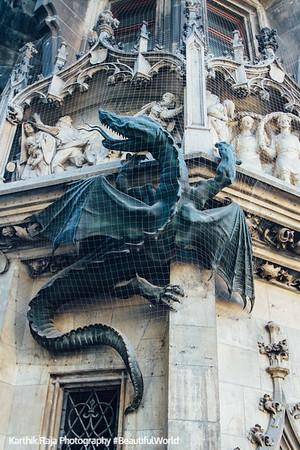 Dragon, The New Town Hall, Marienplatz, Munich, Bavaria, Germany
