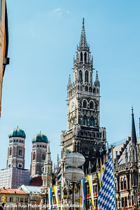 New Town Hall and Frauenkirche Towers, Munich, Bavaria, Germany