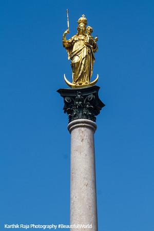 Marian Column, Queen of Heaven, Marienplatz, Munich, Bavaria, Germany