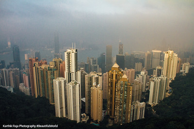 The view of Central, Kowloon and Victoria Harbour from Victoria Gap, near the top of Victoria Peak, Hong Kong