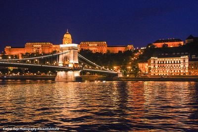 Castle District and Danube embankment with the Széchenyi Chain Bridge, Budapest, Hungary