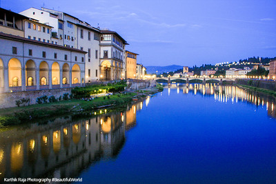 North bank of River Arno with the Vasari Corridor, Florence, Italy