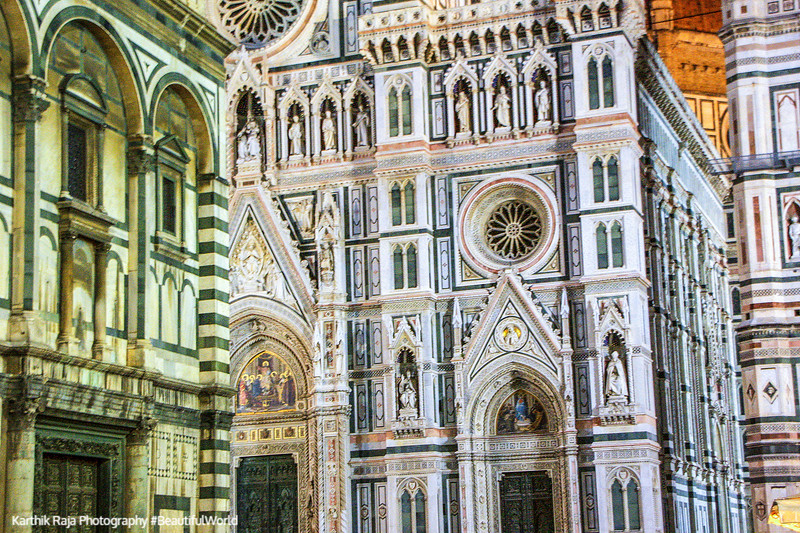 Green and pink marble of the Basilica di Santa Maria del Fiore (Duomo), Florence, Italy