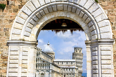 Piazza del Duomo through the gates, Pisa, Italy