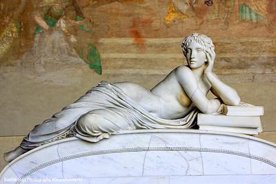Sarcophagi sculpture - resting lady, Pisa, Italy