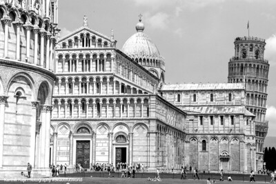 Leaning in Black and White, Pisa, Italy