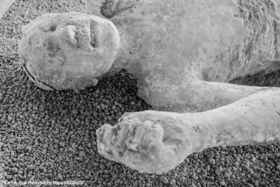 Skeletal remains of Pompeii citizens buried in the eruption, Pompeii, Italy