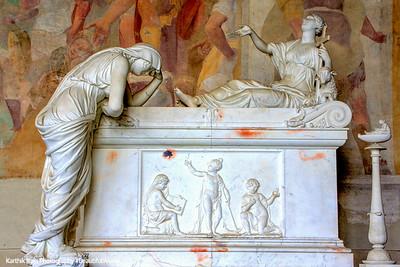 Sarcophagi sculpture - mourning lady, Pisa, Italy