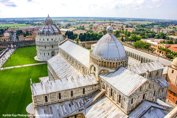 View of the Duomo and Baptistery from atop the Leaning Tower, Pisa, Italy