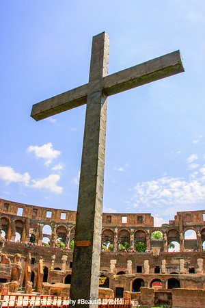 A cross at the The Colloseum, Rome, Italy