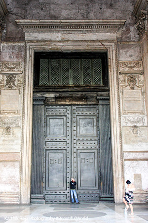 Door of the Pantheon - see the scale, Rome, Italy