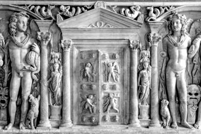 Ancient Roman door design, Capitolini Museum at Campidoglio, Rome, Italy