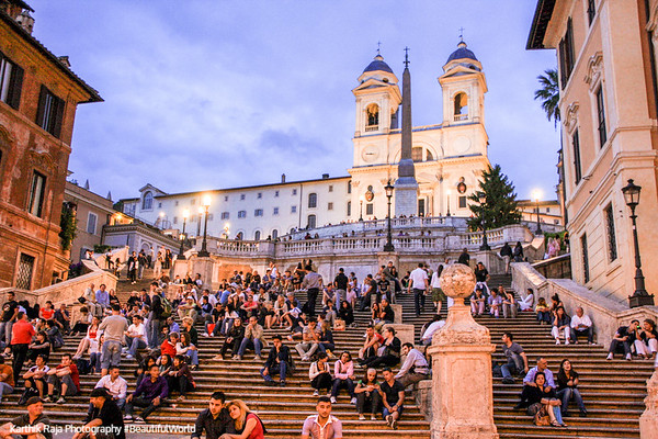 The Piazza di Spagna - Spanish Steps with the Church of the Trinita dei Monti, Rome, Italy