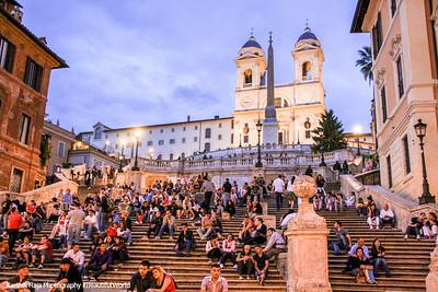The Piazza di Spagna - Spanish Steps with the Church of the Trinita dei Monti, Rome, Italy