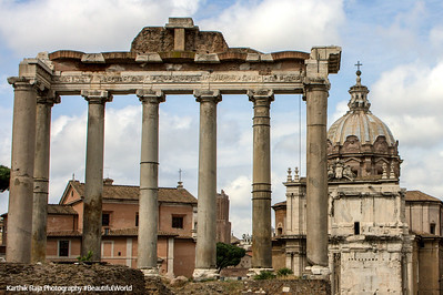 The Temple of Saturn in the Roman Forum, Rome, Italy