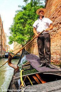 Gondolier Stefano at work, Venice, Italy