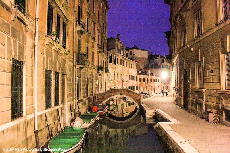 A canal at night, Venice, Italy