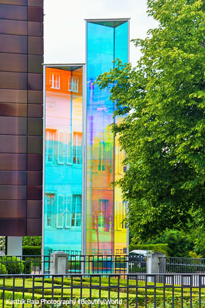Colored glass, art, Vaduz, Liechtenstein