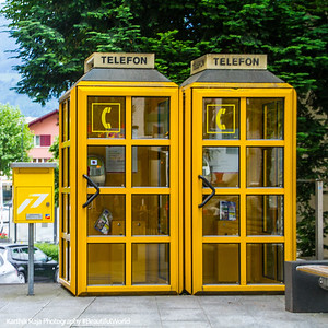 Yellow telephone booths, Vaduz, Liechtenstein