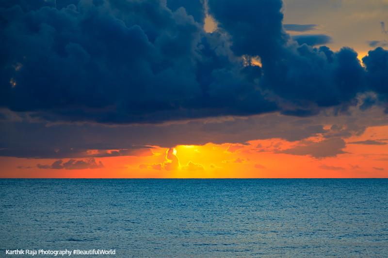 Sunrise, Caribbean sea, Riviera Maya, Mexico