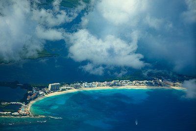 Cancun from the sky, Riviera Maya, Mexico
