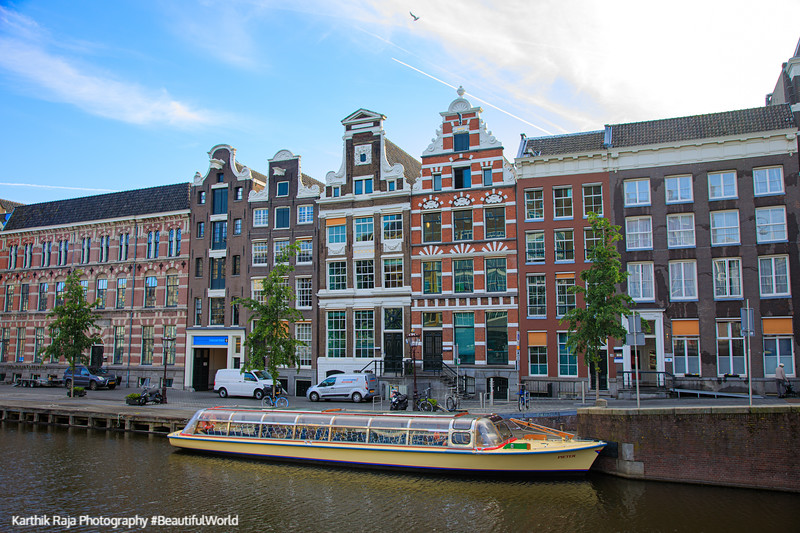 Canals, boats, Dutch houses, Amsterdam
