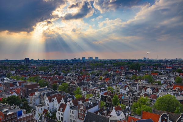 Sun rays on Amsterdam