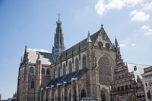The St. Bavo Church in Haarlem De Grote of St. Bavokerk te Haarlem, Grote Markt, Old Center,  Haarlem, Netherlands
