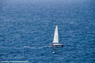 Boat, View of Atlantic Ocean, San Felipe El Morro Castle, Viejo San Juan